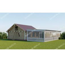 Скотный двор «Хлев сеновал 6-5 с выгулом 9-6» зимний на 50 кур, 2 козы, 50 кроликов
